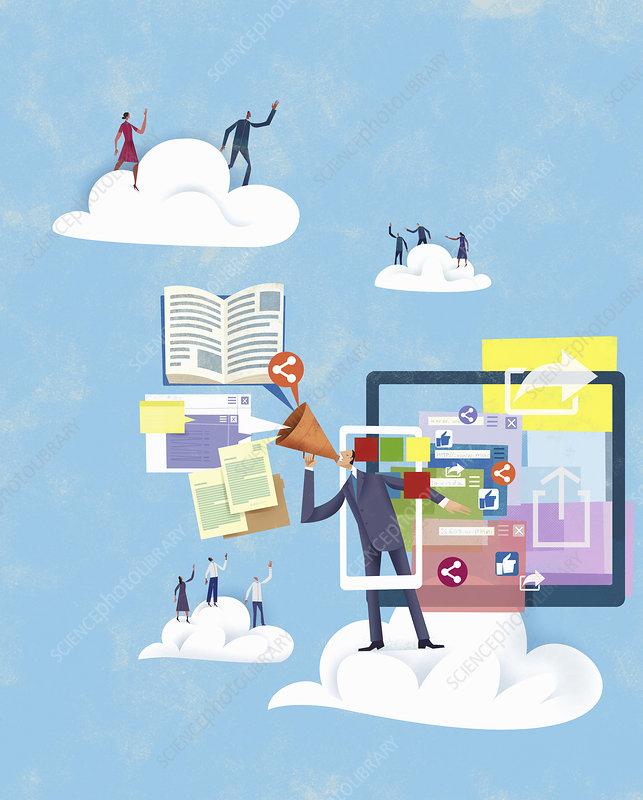 Businessman using computer technology, illustration