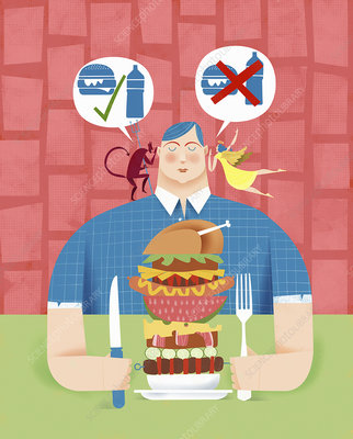 Man deciding whether to eat unhealthy food, illustration