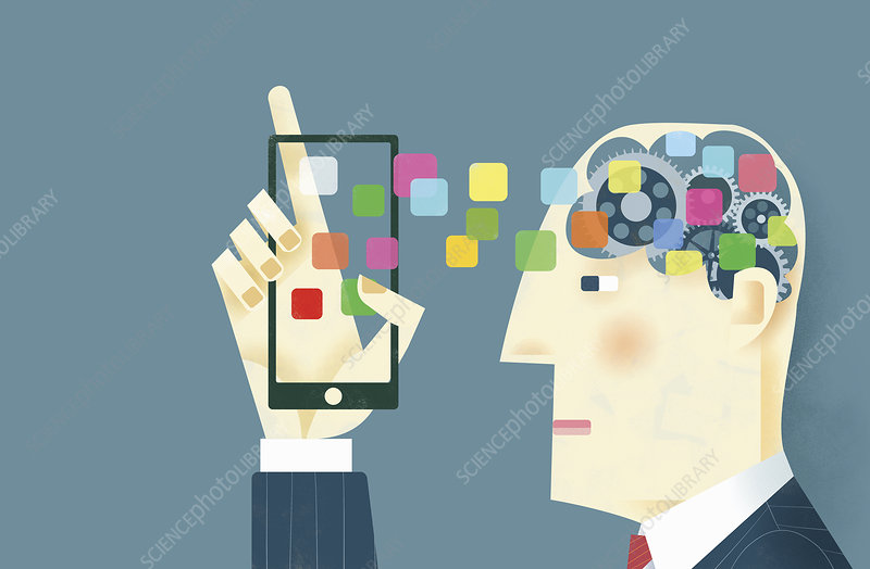 Mobile apps connecting to cogs in man's head, illustration