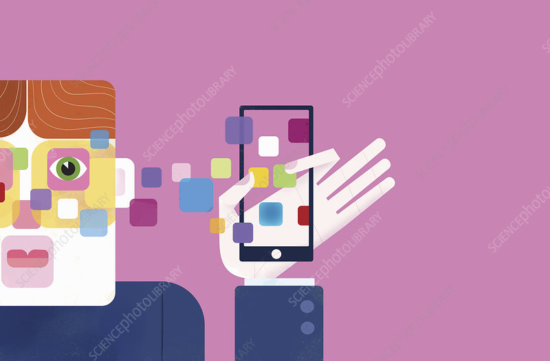 Mobile apps connecting to man's head, illustration