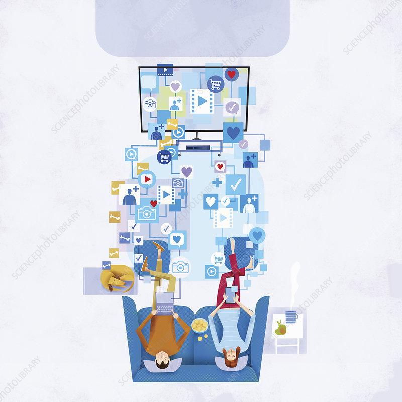 Couple using computers and ignoring each other, illustration