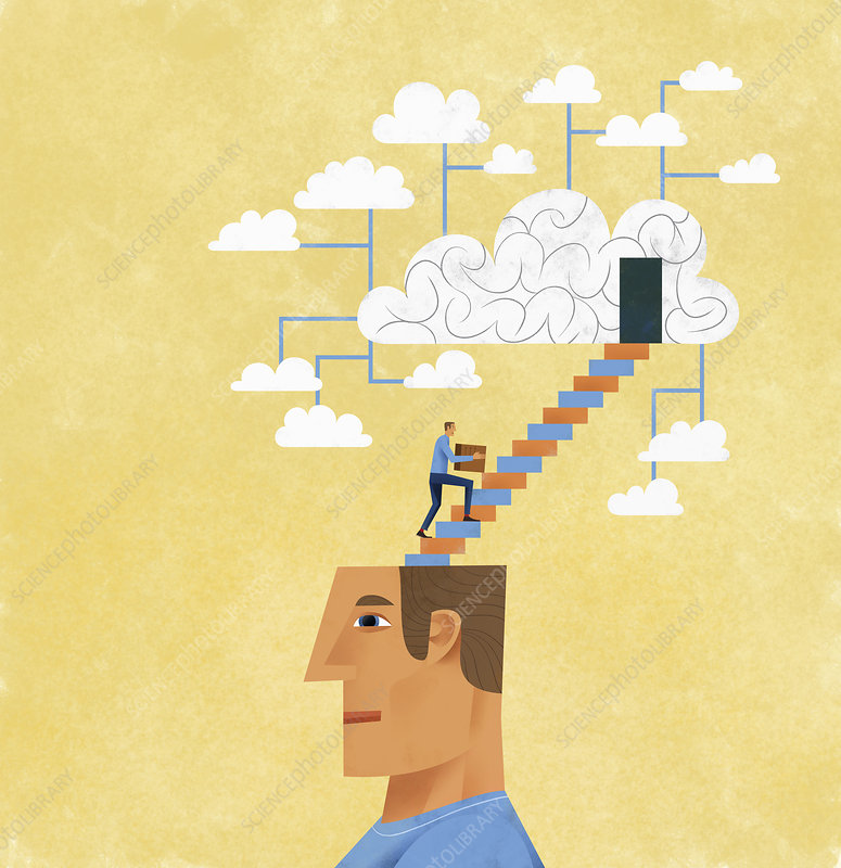 Man organising and storing ideas, illustration