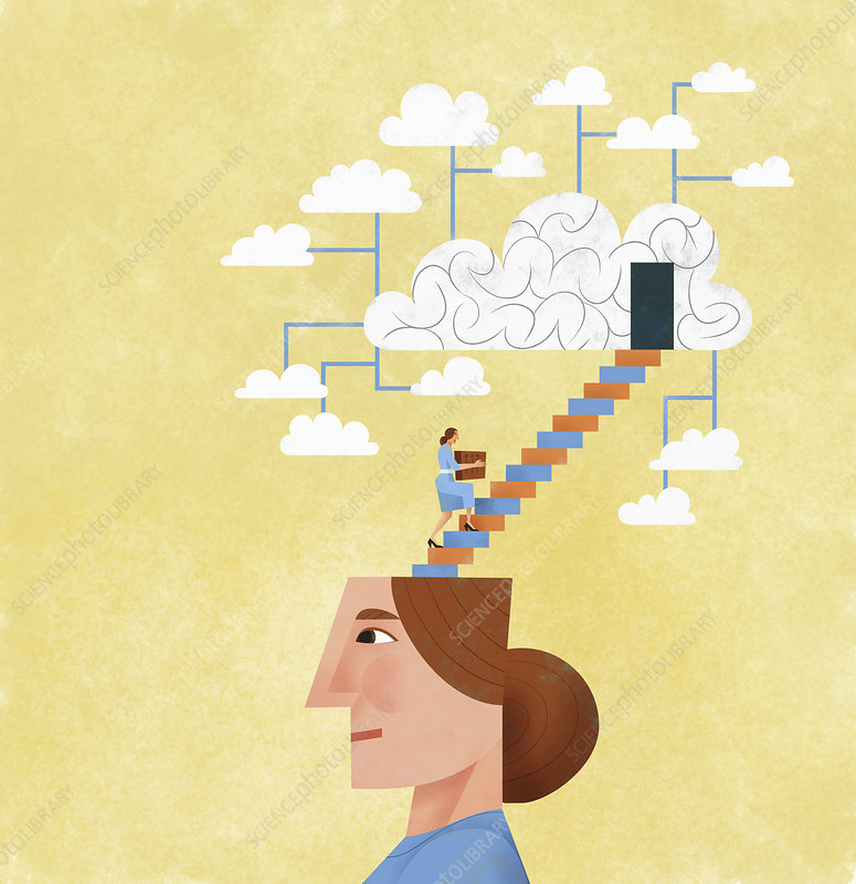 Woman organising and storing ideas, illustration