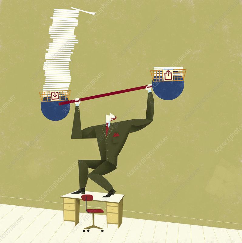 Businessman struggling to balance, illustration
