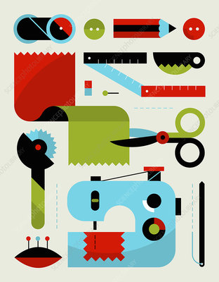 Sewing kit equipment, illustration