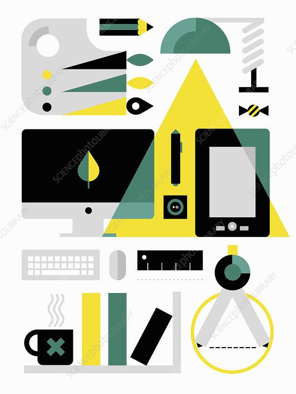 Desktop equipment for digital artist, illustration