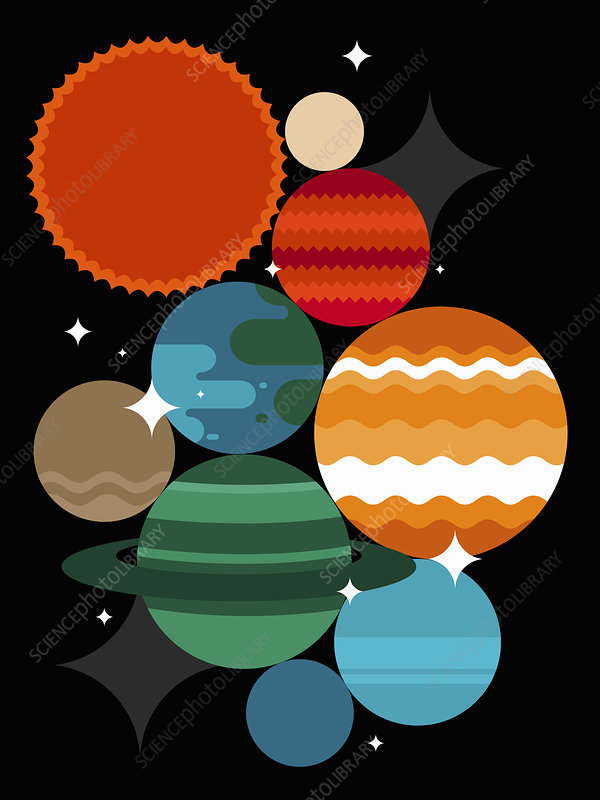 Abstract planet pattern, illustration