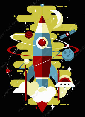 Retro rocket exploring outer space, illustration