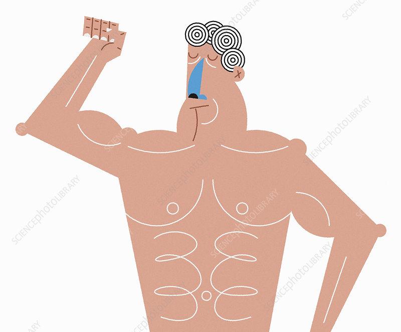 Macho man flexing muscles, illustration