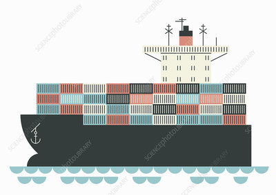 Cargo container ship at sea, illustration