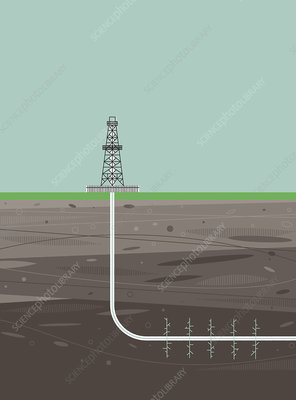 Fracking drilling rig, illustration