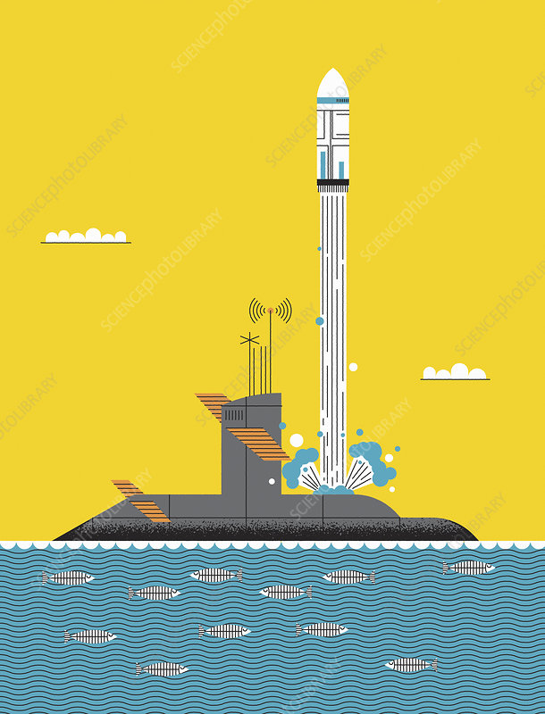 Trident missile being launched from submarine, illustration