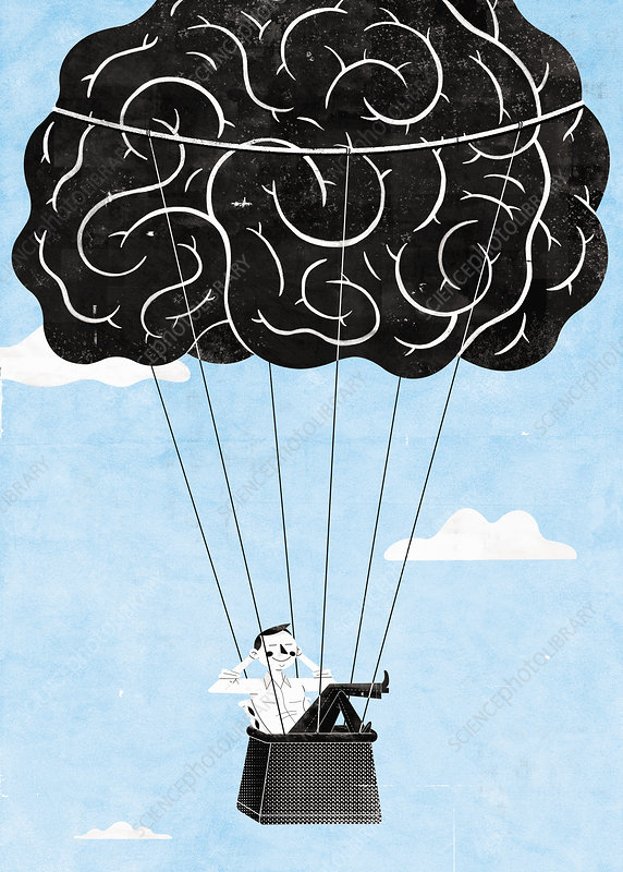 Happy man relaxing in brain hot air balloon, illustration