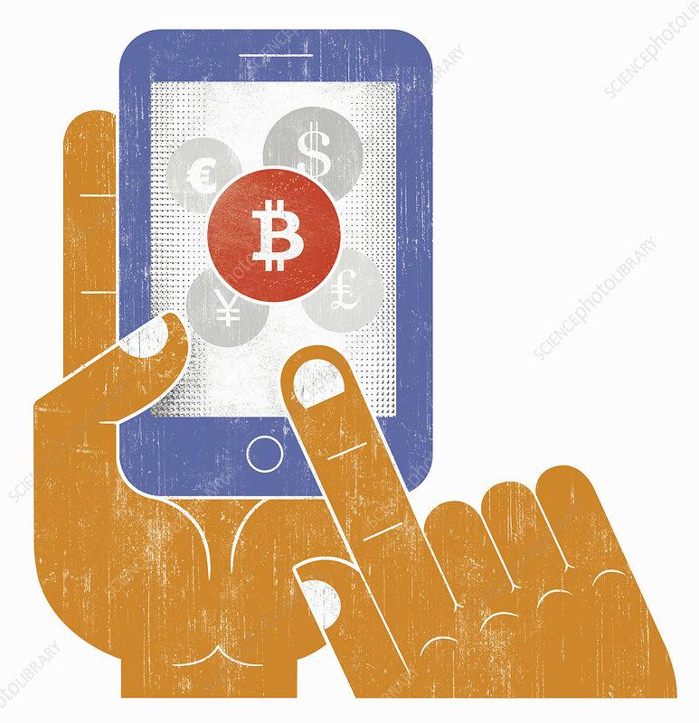 Hand choosing bitcoin currency, illustration