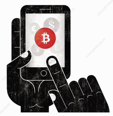 Hand choosing bitcoin currency, illustration