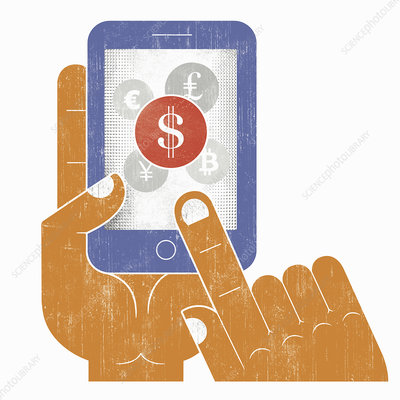 Hand choosing dollar sign currency, illustration