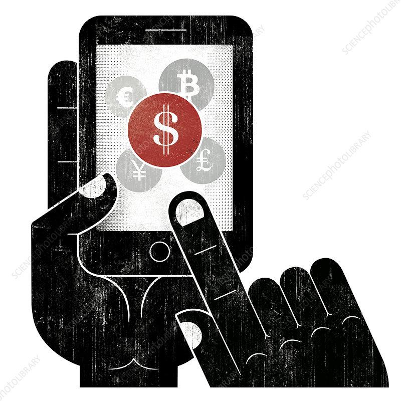 Hand choosing dollar sign currency, illustration