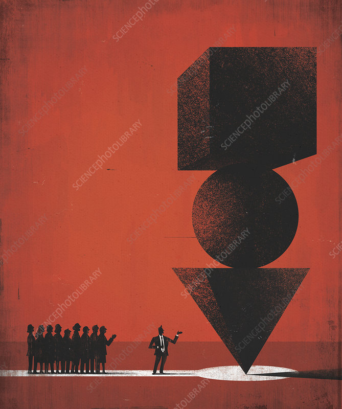 Businessman showing pile of balancing shapes, illustration