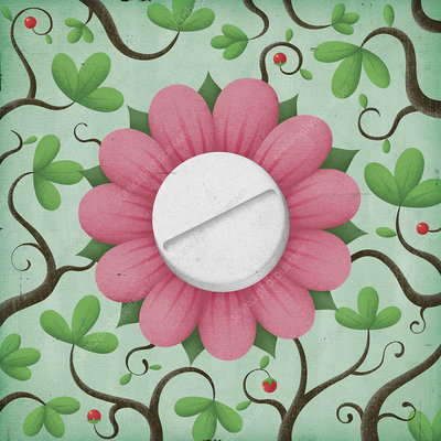 Pill in the centre of a flower, illustration