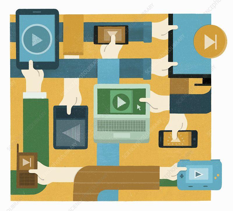 Hands pressing play button on digital devices, illustration