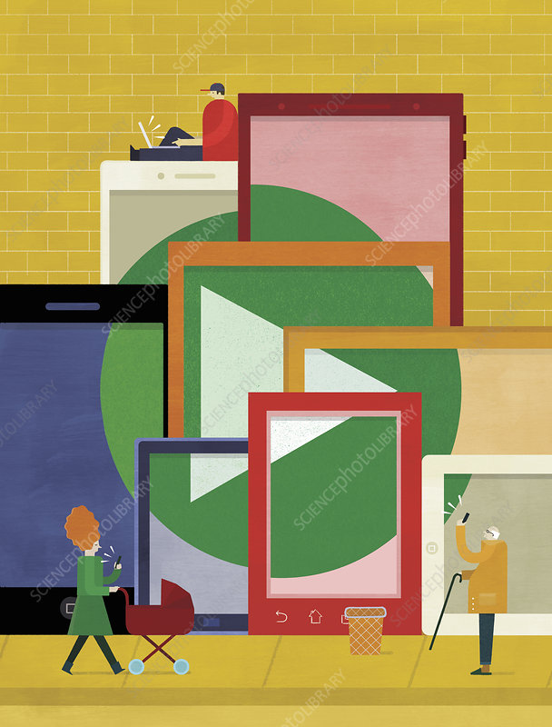 People using portable digital devices, illustration