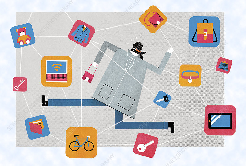 Catching thief using item location technology, illustration