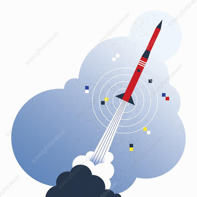 Missile taking off over target, illustration