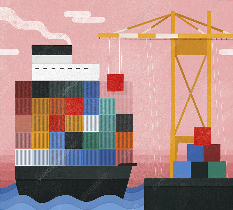 Crane unloading cargo from container ship, illustration