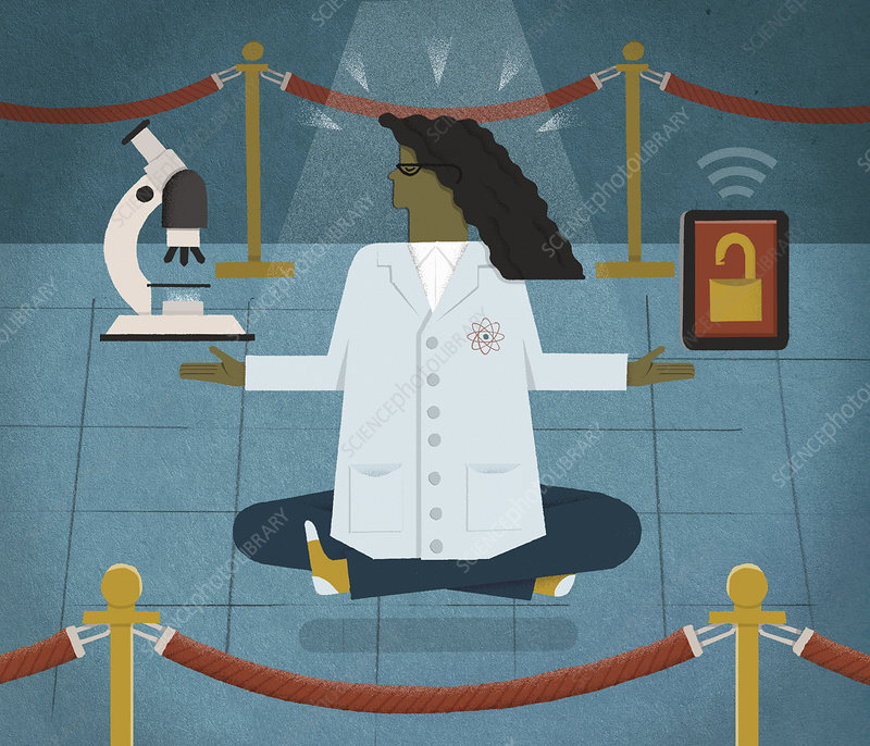 Scientist meditating, illustration
