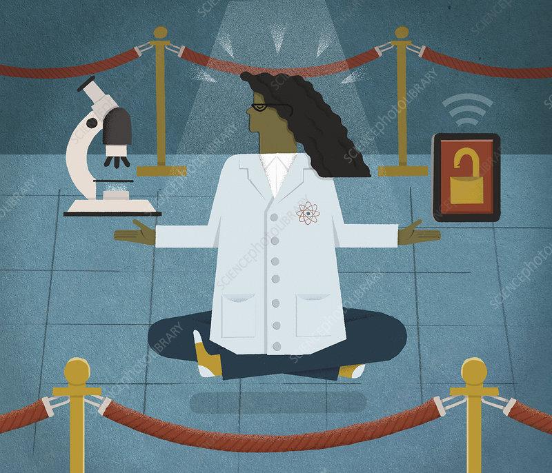 Scientist meditating, illustration
