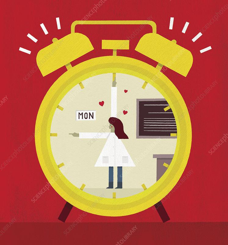 Happy teacher on Monday morning alarm clock, illustration