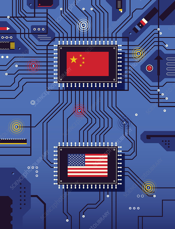 Chinese and American flags on circuit board, illustration