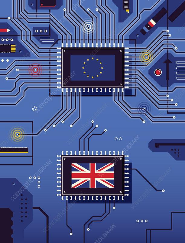 British and European Union flag disconnected, illustration