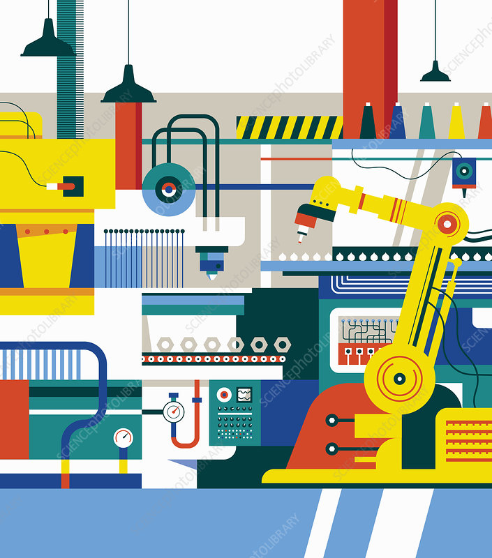 Manufacturing production line, illustration
