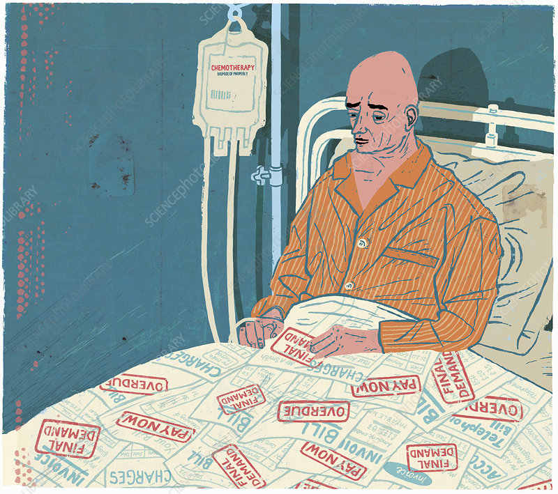 Cancer patient in hospital bed with bills, illustration