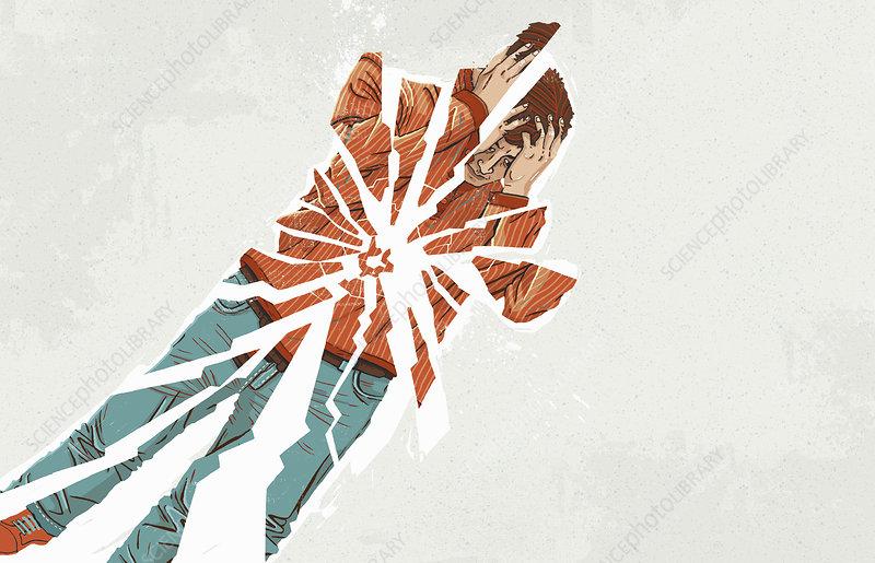 Depressed man breaking into pieces, illustration