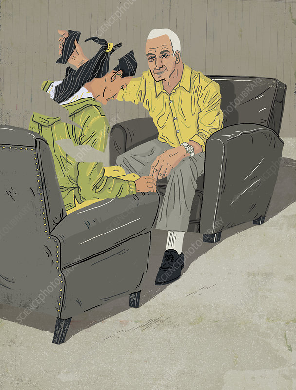Psychotherapist putting woman back together, illustration