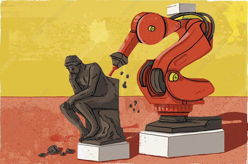 Robotic chisel creating The Thinker, illustration