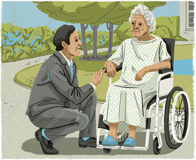 Man talking to elderly woman in wheelchair, illustration