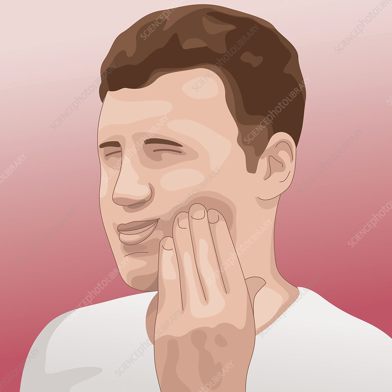 Man grimacing in pain with toothache, illustration
