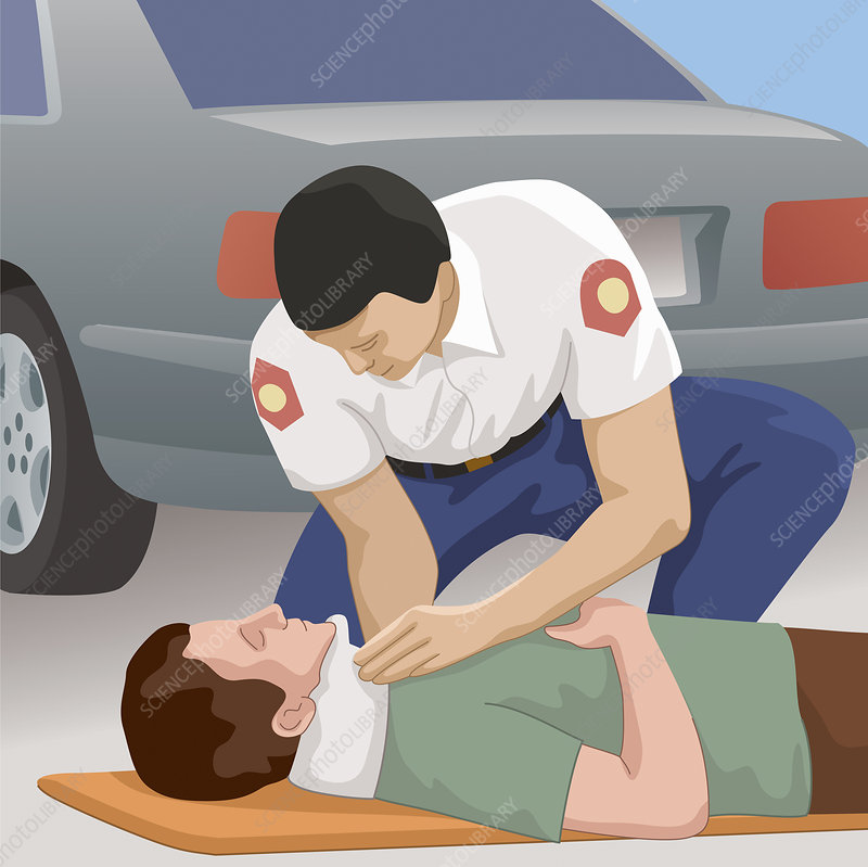 Paramedic helping patient lying on road, illustration