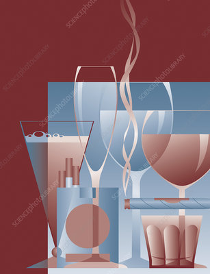 Cigar, cigarettes and alcoholic drinks, illustration