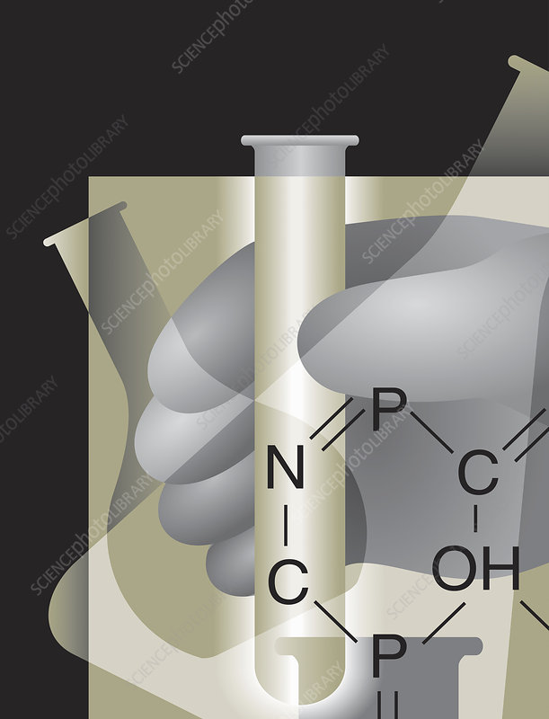 Scientific research and chemical formula, illustration
