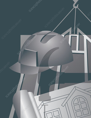 Architect's drawing and hard hat, illustration
