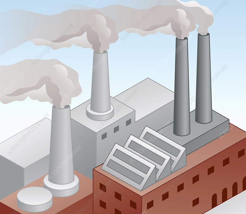 Air pollution from factory chimneys, illustration