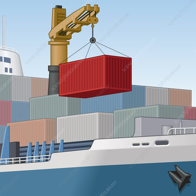 Crane moving cargo container on ship, illustration