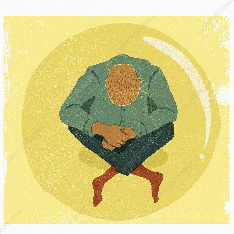 Depressed man sitting inside of bubble, illustration