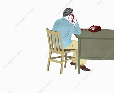 Man sitting at desk on landline telephone, illustration