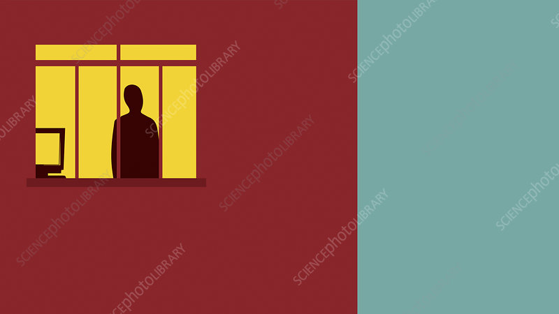 Figure with computer behind prison bar window, illustration