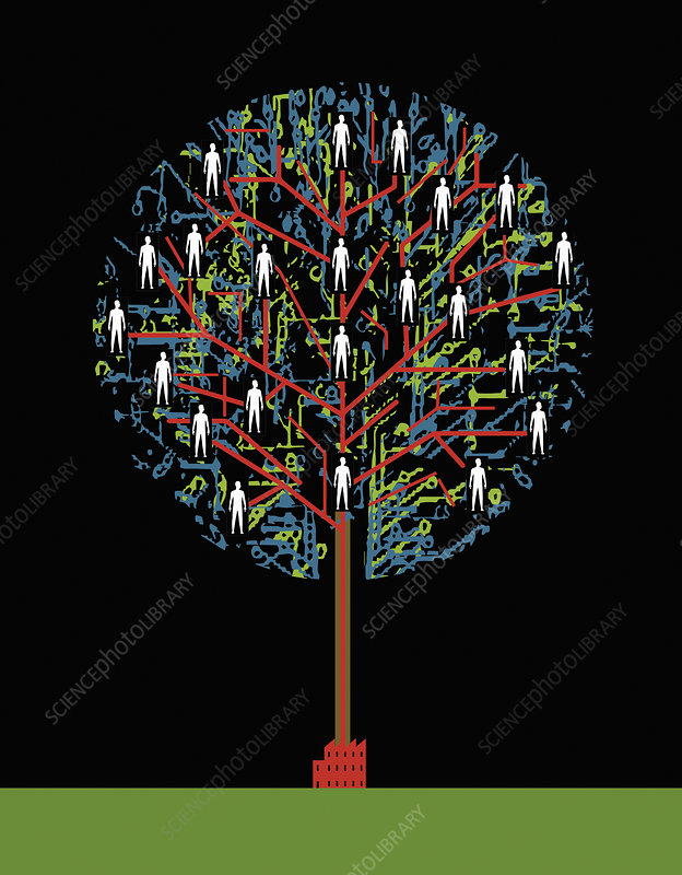 People in network tree growing from factory, illustration